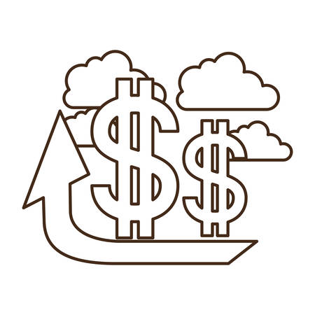 up arrow with dollar symbol isolated icon vector illustration design Illustration