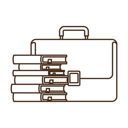 suitcase with stack of books isolated icon vector illustration design  イラスト・ベクター素材