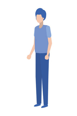 young man standing avatar character vector illustration desing