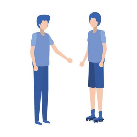 young men standing avatar character vector illustration desing Illustration
