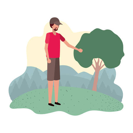 man standing in landscape avatar character vector illustration desing Çizim