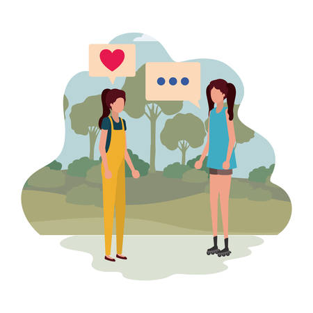 women in landscape with speech bubble avatar character vector illustration desing Vectores