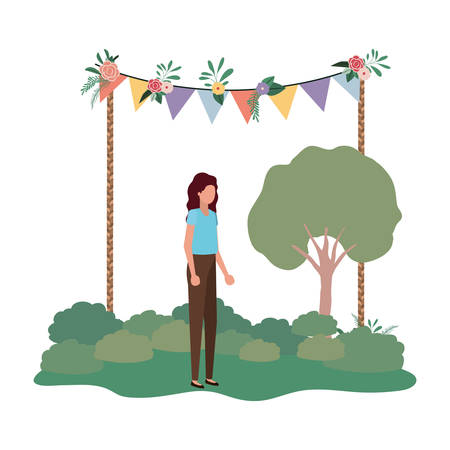 woman standing in landscape avatar character vector illustration desing