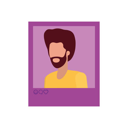 instant photo of man avatar character vector illustration design