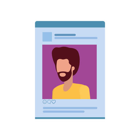 man social network profile avatar character vector illustration design  イラスト・ベクター素材
