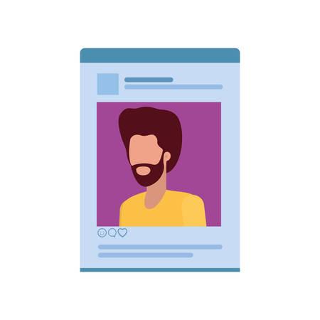 man social network profile avatar character vector illustration design Illustration