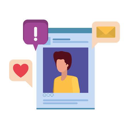 profile social network man with speech bubble vector illustration design