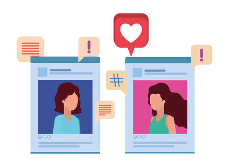 social media profiles with speech bubble avatar character vector illustration design
