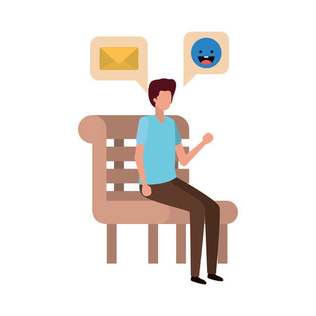 man sitting on bench with dialogue bubble vector illustration design
