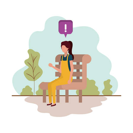 young woman with park chair with landscape vector illustration design