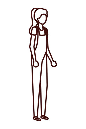 young woman standing avatar character vector illustration desing