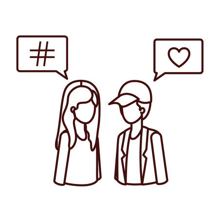 young couple with speech bubble avatar character vector illustration design