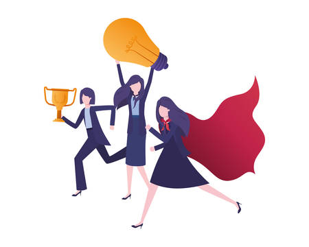 businesswomen with trophy and light bulb vector illustration desing