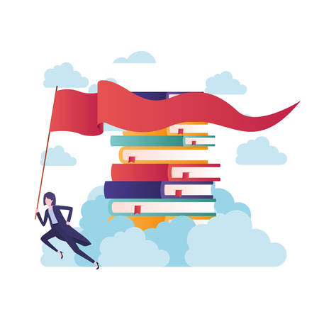 businesswoman with stack of books and flag vector illustration desing
