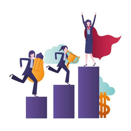 businesswomen with bar graphic avatar character vector illustration desing Vector Illustration