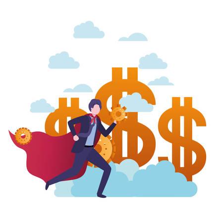businessman with dollar sign and hero coat vector illustration design Standard-Bild - 114809451