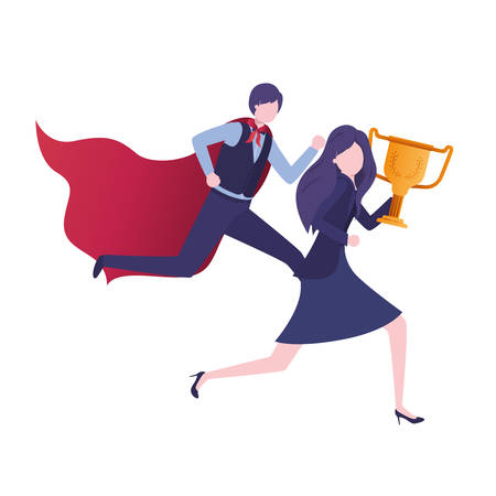 business couple with hero coat and trophy vector illustration design 일러스트