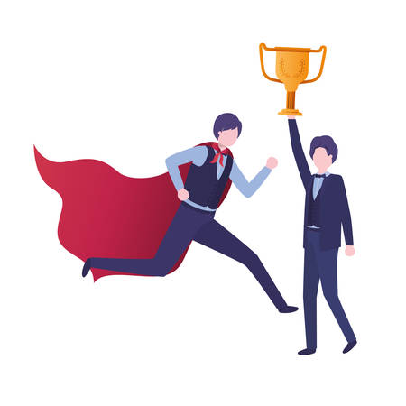 businessmen with hero coat and trophy vector illustration design