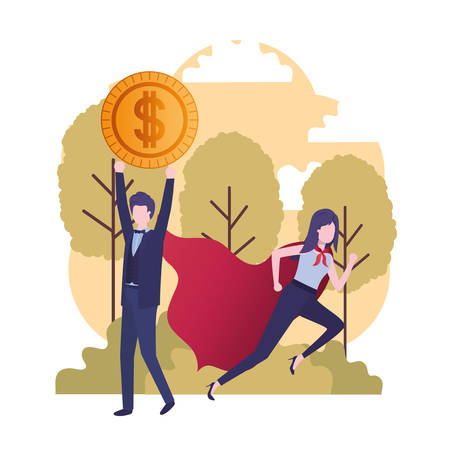 business couple with hero coat and currency vector illustration design