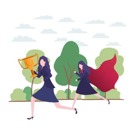 businesswomen with hero coat and trophy vector illustration design 일러스트