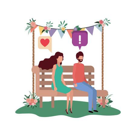 Couple assis sur une chaise de parc avec des bulles d'illustration vectorielle desing