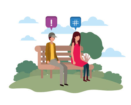 couple sitting on park chair with speech bubbles vector illustration desing