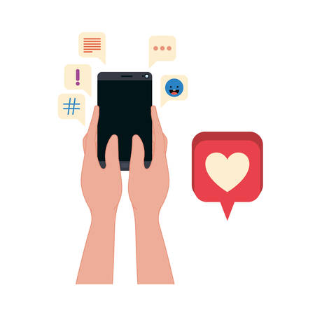 hands with smartphone and speech bubble icons vector illustration desing