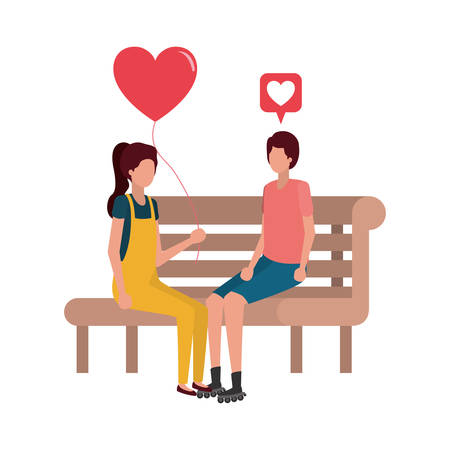 couple sitting on park chair with hearts character vector illustration desing