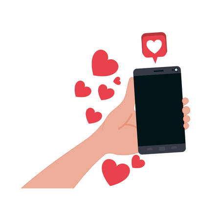 hand with smartphone and hearts icons vector illustration desing