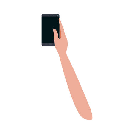 hand with smart phone isolated icon vector illustration desing