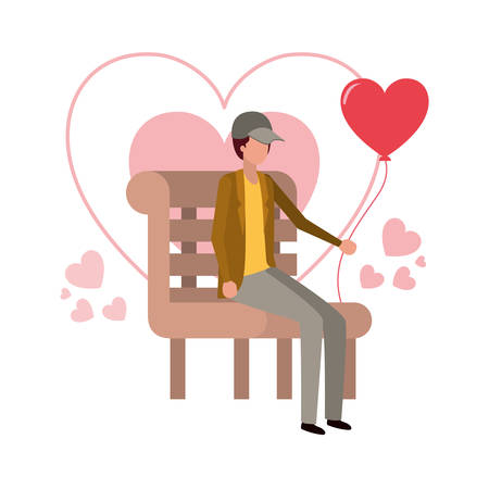 man sitting on park chair with hearts character vector illustration desing Illustration