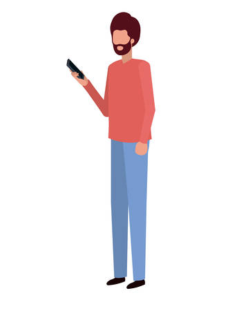 young man with smartphone avatar character vector illustration desing