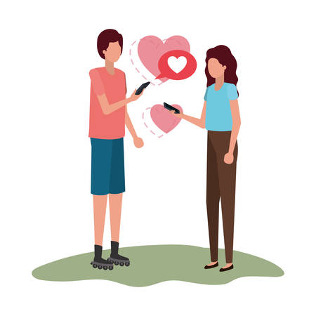 couple holding hands with hearts character vector illustration desing