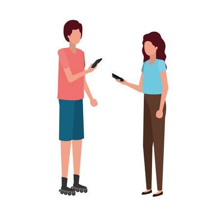 young couple with smartphone avatar character vector illustration desing