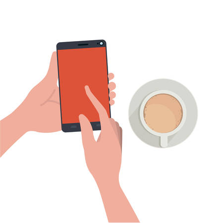 hands with smartphone and coffee isolated icon vector illustration design