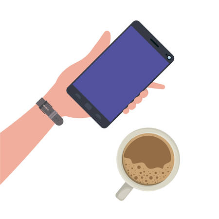 hand with smartphone and coffee isolated icon vector illustration design Иллюстрация