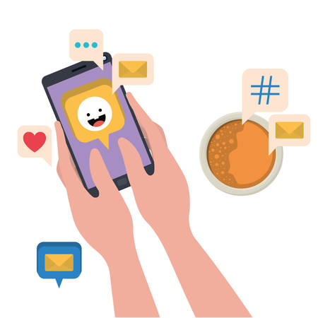 hands with smartphone and coffe isolated icon vector illustration desing Иллюстрация
