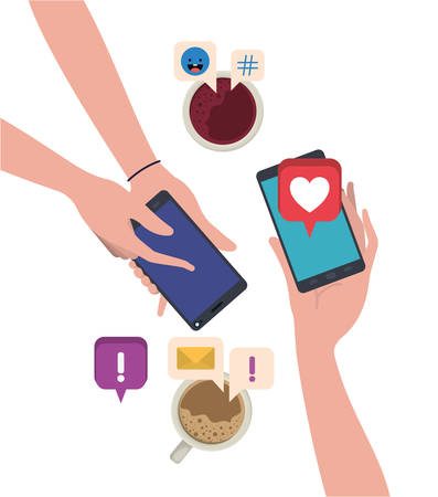 Aerial view of hands with smartphone character vector illustration desing