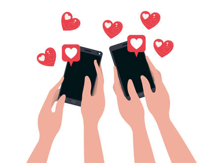 hands with smartphone and hearts isolated icon vector illustration desing