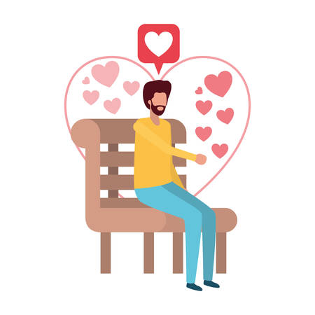 man sitting on park chair with hearts character vector illustration desing 向量圖像