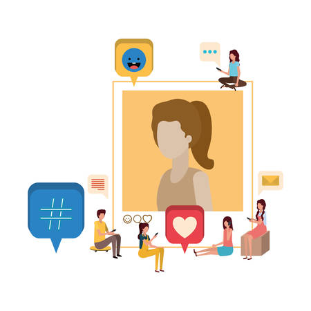 group of people with instant photo of woman character vector illustration desing