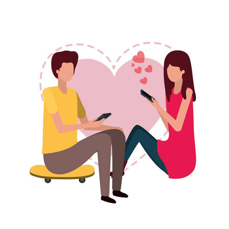 couple sitting with hearts avatar character vector illustration desing