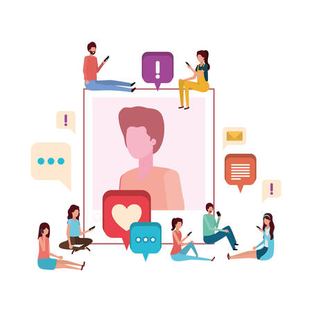 group of people with instant photo of man character vector illustration desing