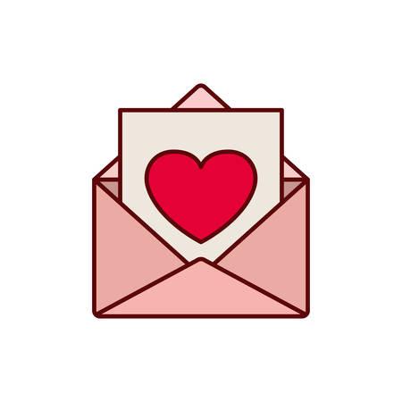 Sobre de carta con diseño de ilustración de vector de icono aislado de corazón Ilustración de vector
