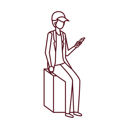man sitting with smartphone avatar character vector illustration desing Çizim