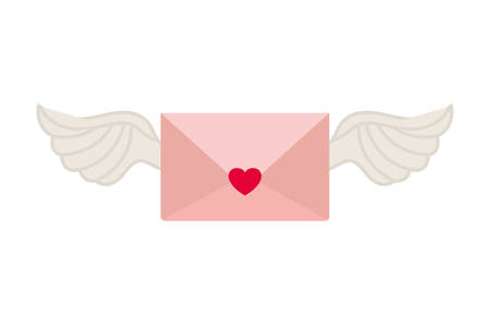 envelope of letter with heart isolated icon vector illustration desing