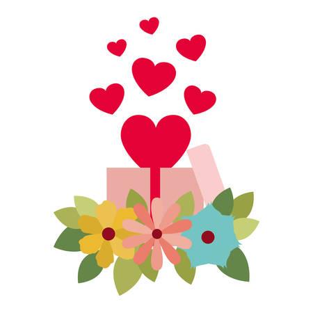 geschenkdoos met harten geïsoleerd pictogram vectorillustratie desing Vector Illustratie