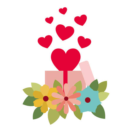 gift box with hearts isolated icon vector illustration desing Vector Illustration
