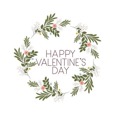 Happy valentines day label avec des icônes de couronne de fleurs desing illustration vectorielle