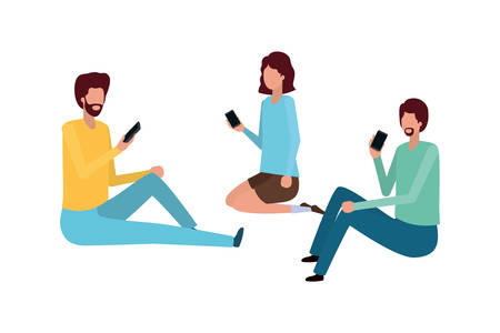 group of people with smartphone avatar character vector illustration desing